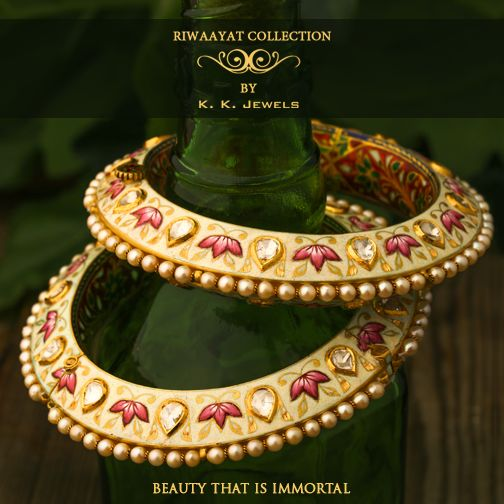 At K.K.Jewels, we create jewellery that will be cherished for generations to come. For instance, these very fetching pair of bangles emanate the sort of classic glamour that would be admired forever. A more splendid pairing of meenakari and polki you'll never see! You can comment below or inbox us to inquire about the price and other details. ‪#‎KKJewels‬ ‪#‎Jewellery‬ ‪#‎Ahmedabad‬ ‪#‎Bracelet‬