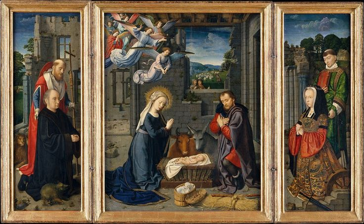 Gerard David (Netherlandish, c. 1455-1523) – The Nativity with Donors and Saints Jerome and Leonard, c. 1510–15 (Oil on canvas, transferred from wood, Metropolitan Museum of Art)