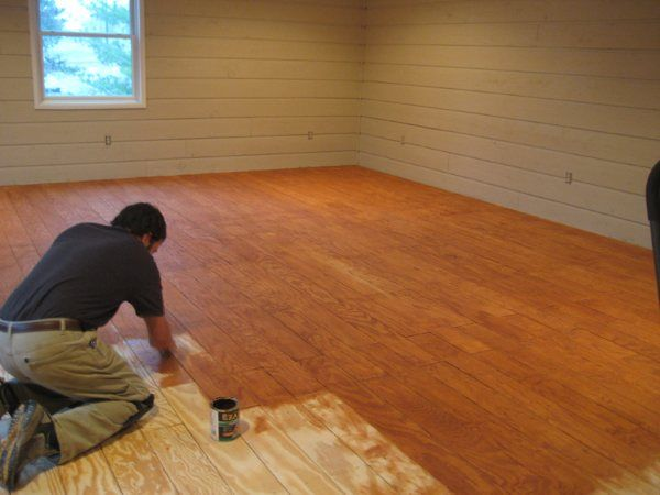 Stained floors,  redo on a budget, redoing a floor, rip up that carpet,  remodeling, decorating on the cheap, plywood flooring ideas | DIY Plank Flooring on the CHEAP with Quarry Orchard - Somewhat Simple