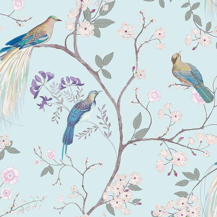 Dorma Duck Egg Maiya Wallpaper | Dunelm