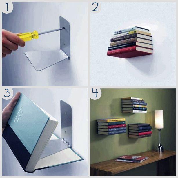 Faça você mesmo - prateleira de livros invisível