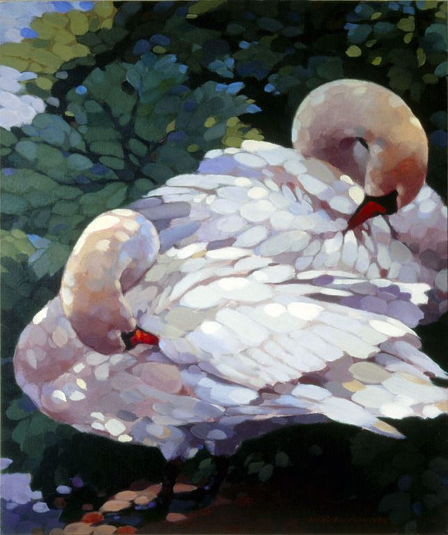 """Nicholas Robertson; Acrylic, Painting """"Pittville Swans""""   As a small girl, I used to love going to Pittville Park as a kid to play in the park and to ride the paddle boats. Later I would go to sketch when I was at Pittville Art School, so this brings back good memories. Happy Days!"""