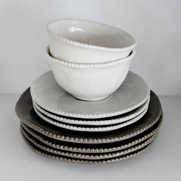 Annmarie Charcoal Grey Starter/Salad Plates, Set of Four
