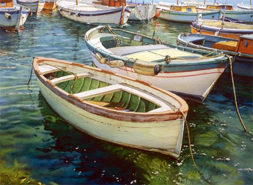 Joel R. Johnson / Reflections in Capri/  Watercolor PaintingWatercolors Boats, Art Watercolors, Art Boats, Watercolors Art, Watercolors Seascape, Art Painting, Watercolors Painting, Johnson Watercolors, Watercolour Painting