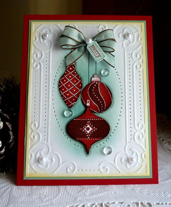 """stampin up handmade """"merry """" card new  christmas cards"""