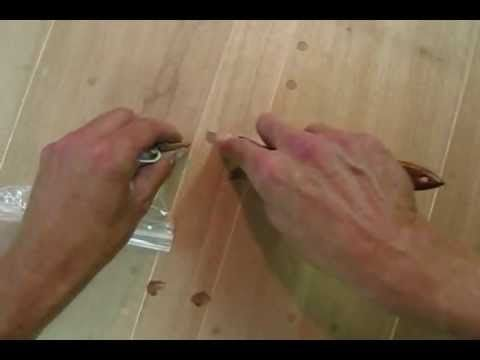 Quick Tip #16 Working with Famowood. (This is a great video on wood #repair. As a side note from my experience in repairing hundreds of pieces of unpainted furniture + testing lots of products on the market. #1 cut bumpy and rough #veneer out with a mat knife #2 drafting tape off to protect good areas #3 fill with famowood #4 sand smooth #4 use graining pens and 0000 steel wool- rubbing pen area to soften sharp unnatural lines #5 touch up with clear finish, remove tape & dull with steel…