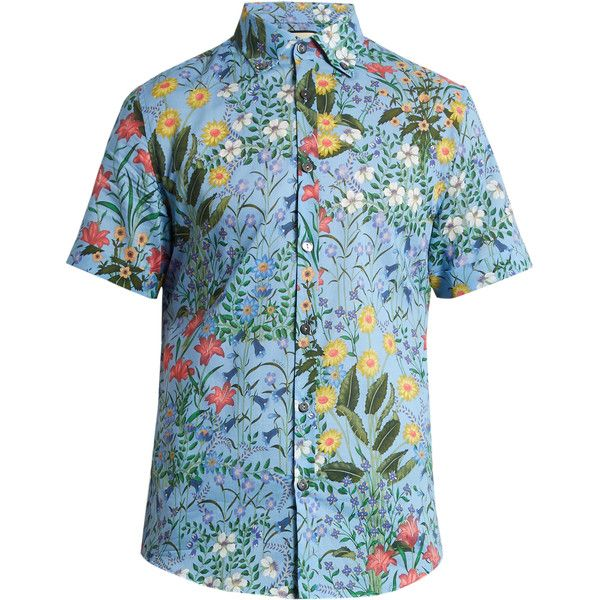 Gucci Floral-print cotton-voile shirt ($630) ❤ liked on Polyvore featuring men's fashion, men's clothing, men's shirts, men's casual shirts, light blue, mens slim fit short sleeve shirts, mens light blue shirt, mens casual short sleeve shirts and mens short sleeve button down casual shirts