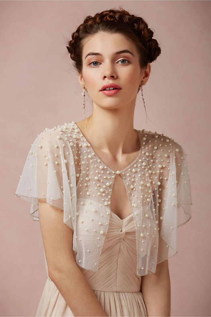 Scattered Pearl Capelet in Bride Bridal Cover Ups at BHLDN