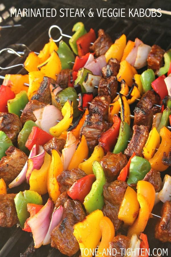 Marinated Steak and Vegetable Kabobs on Tone-and-Tighten