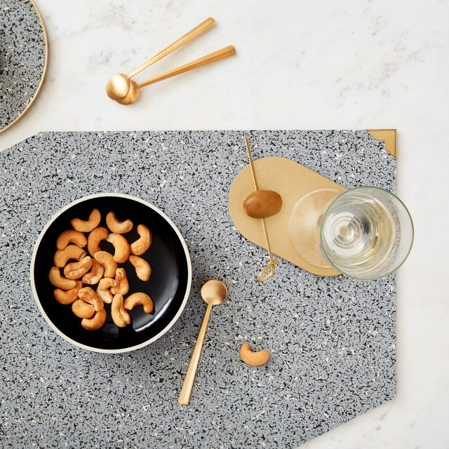 Set of Placemats with Brass Corners & Brass Oval Coasters by SLASH OBJECTS