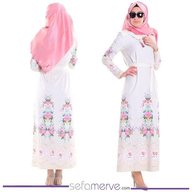 Vavella Baskılı Sivri Yaka Elbise 6026-01 Ekru Yeşil #sefamerve #tesetturgiyim #tesettur #hijab #tesettür