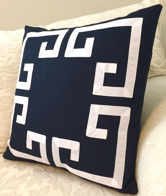 ~Get the look, from award winning home stylists, with this stunning navy & white Greek Key pillow cover. These decorative pillows will make a statement in any room! Great as couch pillows or to stand alone as a chair pillow. * Convo me for custom color and size options. * Same high-end home decor weight fabric on both sides. * This listing is for ONE decorative pillow cover. * All pillow covers are made 1 smaller than listed to ensure a nice fit. Pillow shown is made for a 22 pillow fo...