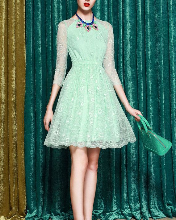 204691e4bc6 Light Mint Green Lace Dress with 3 4 Sleeves   by DressStory ...