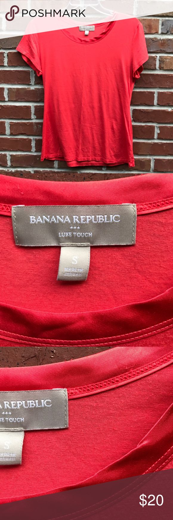 💖 Banana Republic Luxe Touch Tshirt Watermelon S 💖 Banana Republic Luxe Touch Tshirt Watermelon S. Super soft Tshirt with satiny trim around the neck Banana Republic Tops Tees - Short Sleeve