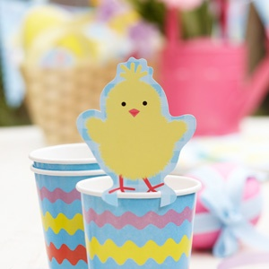 Pack of 10, these chick Easter chick decorations sit on cups as decorations but can also double up as a place name.  £3.50, order online from the Fuschia boutique at www.fuschiadesigns.co.uk.