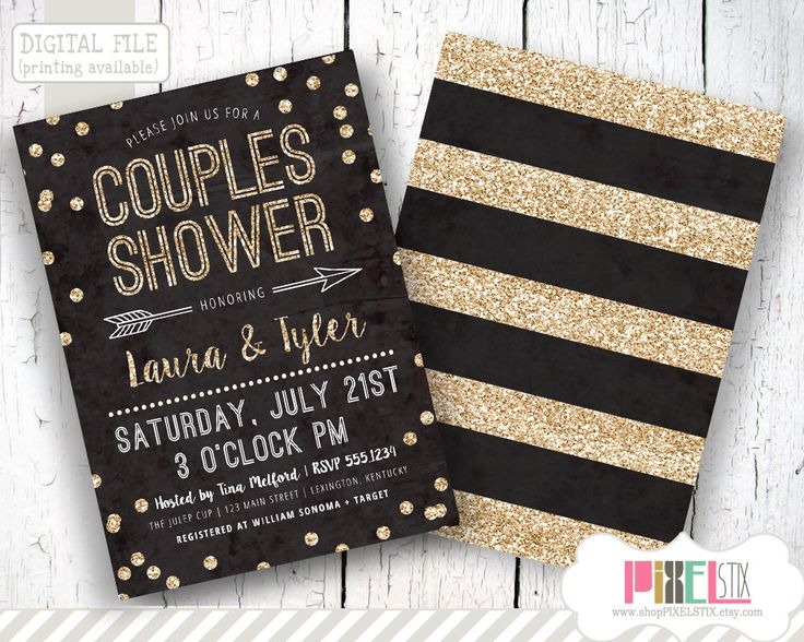 Couples Shower Invitation, Confetti Couples Shower Invite, Glitter Invitation, Black and Gold Invitation, DIY Printable by shopPIXELSTIX on Etsy https://www.etsy.com/listing/227011178/couples-shower-invitation-confetti
