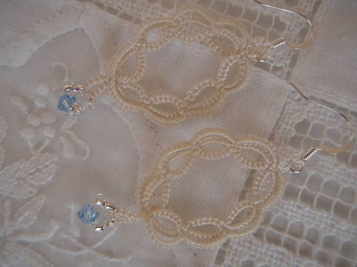 Earrings Dangle Ivory Lace Tatted with Glass Beads by tattingblackkitty on Etsy