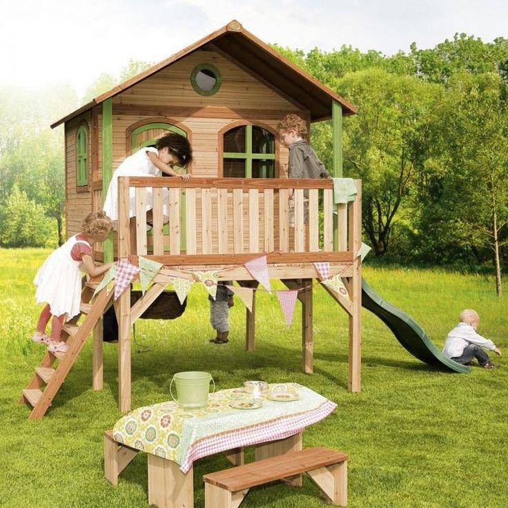 Kids Outdoor Playhouse Garden Play Backyard Activity Wooden Ladder Slide Cabin #KidsOutdoorPlayhouse