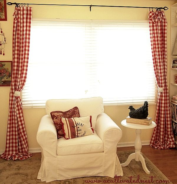 My new red buffalo check living room curtains curtains easy diy and tablecloths for Diy curtain ideas for living room