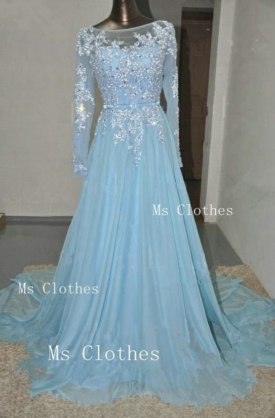 Custom made blue long sleeve lace wedding dresses by for Light blue lace wedding dress