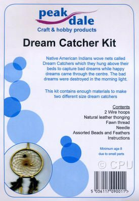Native American Indians made dream catchers by tying sinew strands in a web around a frame of willow which were hung above them at night to capture bad dreams, happy dreams were allowed through the centre. The bad dreams are destroyed as the sun came up the next morning. This kit makes 2 different sized Dream Catchers.