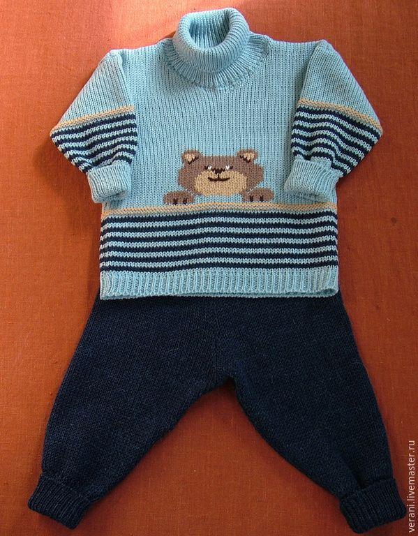 Купить Комплект из шерсти Забавный медвежонок - костюм шерстяной, Костюм вязаный, костюм для мальчика