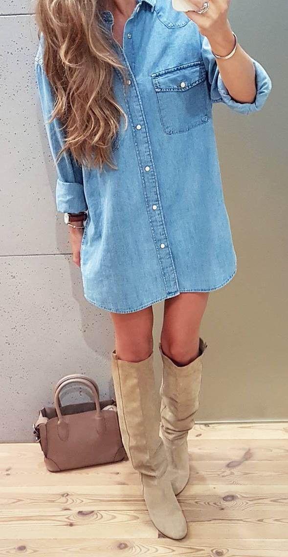 stylish look | denim shirt dress + bag + nude high boots