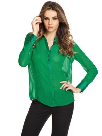 GUESS by Marciano Women's Chandry Blouse #emerald #sheer