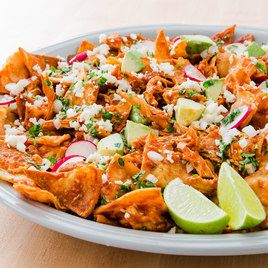 Chicken Chilaquiles - I couldn't find guajillo chilis so used 3 tablespoons toasted chili powder...