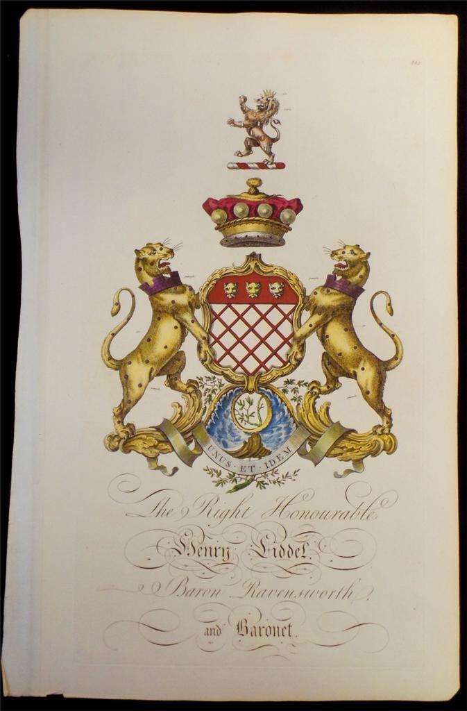 Coat of arms of Henry Liddell (1708-1784), 1st Baron Ravensworth (GB 1747), Joseph Edmondson's Baronagium Genealogium, London, 1764-1784.