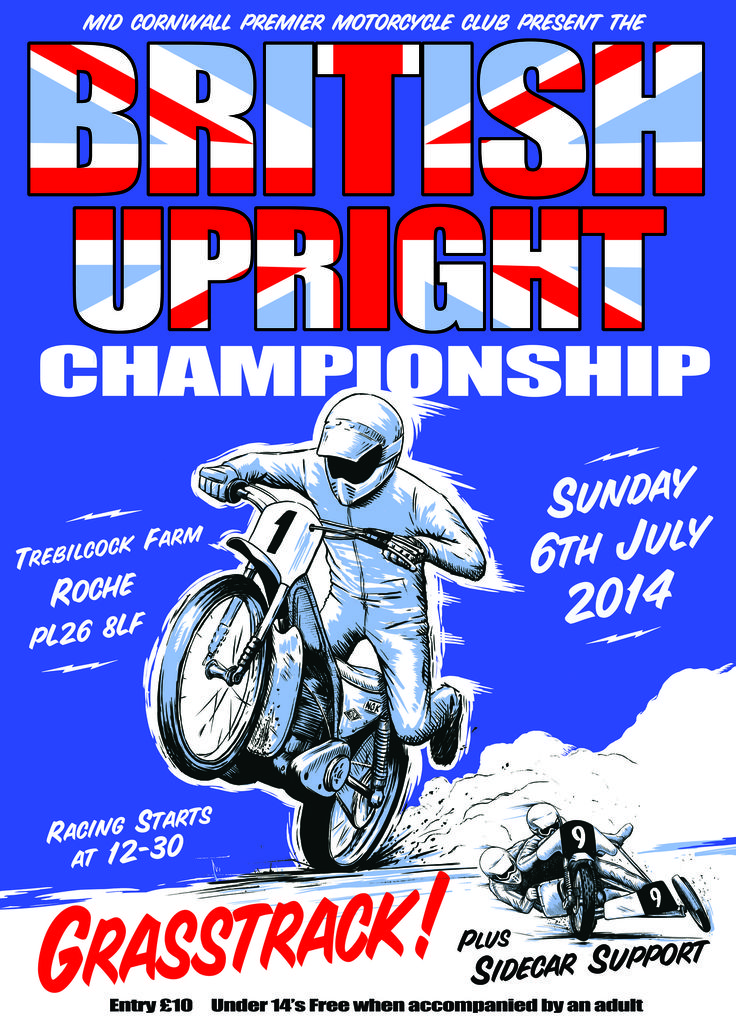 British  Upright Championship 2014 grasstrack. Poster / programme cover
