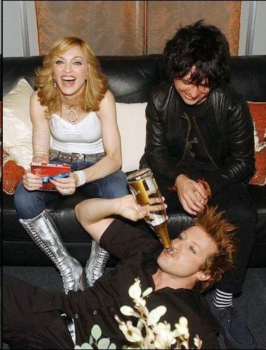 Madonna, Billie Joe Armstrong, and Tre Cool.