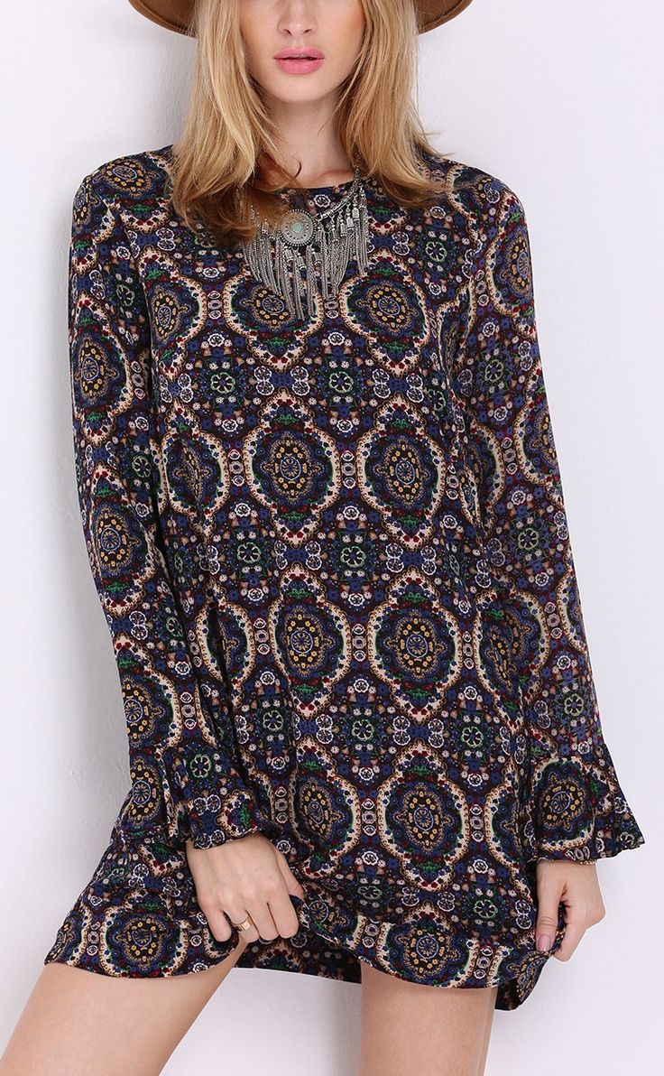 Multicolor long sleeve vintage print dress by SheIn.