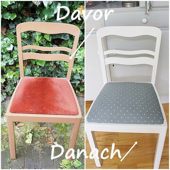 DIY Chair makeover so easy! alter Stuhl mit neuem Aussehen, ganz einfach!