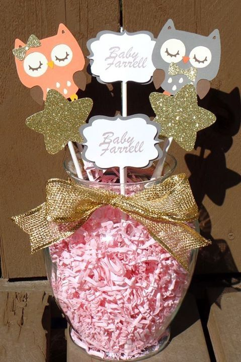 Owl baby shower centerpiece peach owl gray owl by JsCraftDesigns