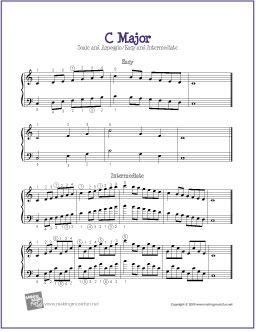 C Major Scale and Arpeggio | Easy and Intermediate for Piano - http://makingmusicfun.net/htm/f_printit_free_printable_sheet_music/c-major-piano.htm