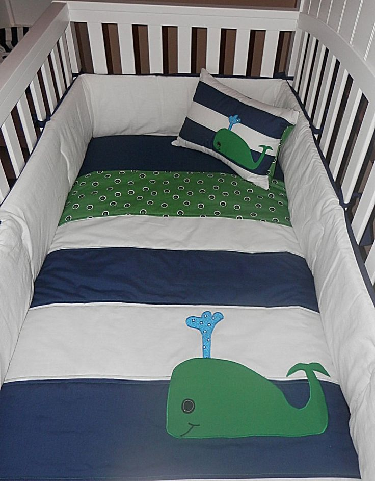 Navy and White Striped Nursery Quilt, Pillow and Crib Skirt with Whale Applique' in Green. $165.00