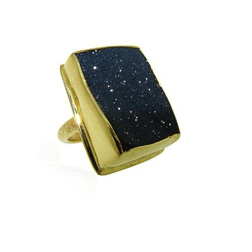 Black Druzy Ring-MAYA MAGAL