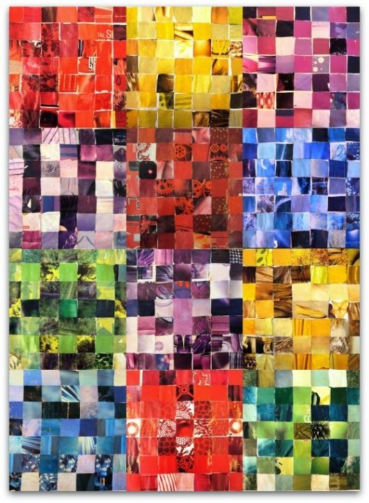 colors, collage, looks like each block was created from colored squares of magazines.   Stand alone or group together.