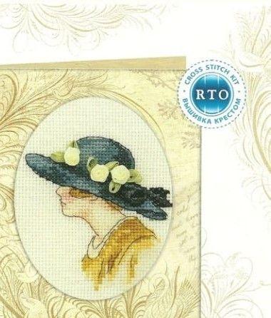0 point de croix femme au chapeau à fleurs - cross stitch lady with hat with flowers part 1