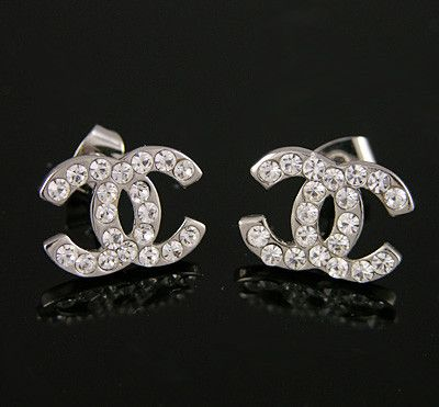 Inspired Womens Silver CC Earring