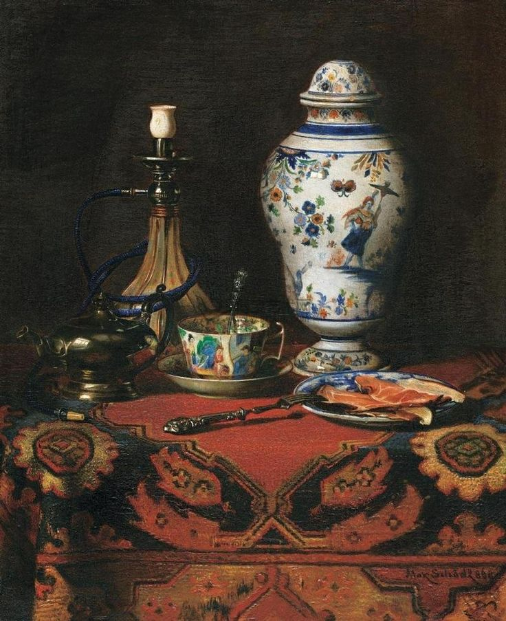 Max Schödl (1834-1921) — Still Life with Waterpipe, 1869 (800×982)