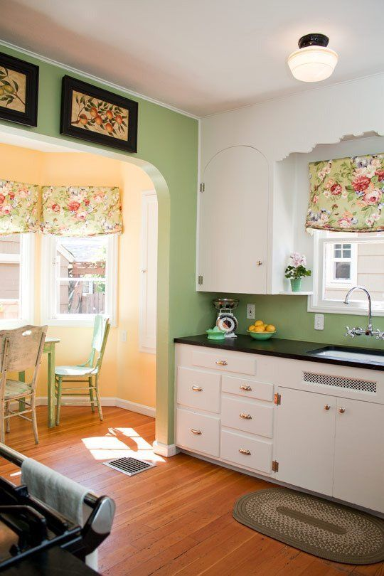 Rhiannon's Jadeite Jewel of a Kitchen - I like the combo of the yellow and green walls!