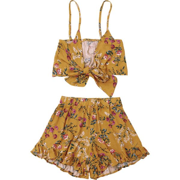 Floral Cami Top With Shorts Set ($16) ❤ liked on Polyvore featuring floral two piece, floral camisole, brown cami, floral print cami and brown camisole