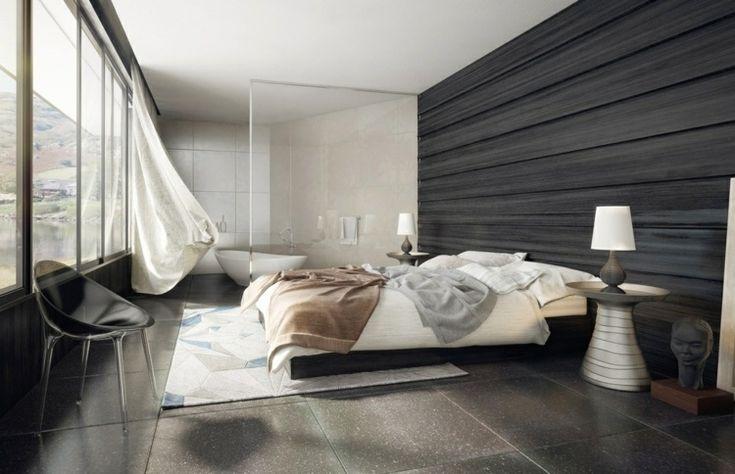 chambre à coucher moderne avec panneau mural en bois sombre, grande fenêtre et table de chevet en métal
