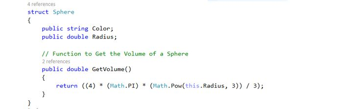 C# Code for Sphere Class (Struct Statement).  Text Editor - Visual Studio 2015.