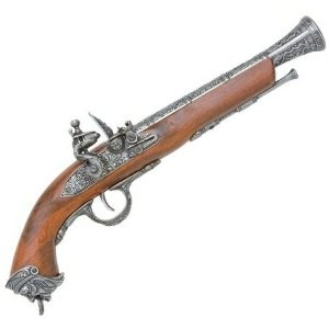 1800s Naval / Pirate Flintlock Pistol - Wood and Metal Replica Gun with Antiqued Silver Tone Metal Parts Covered with Elaborate Designs