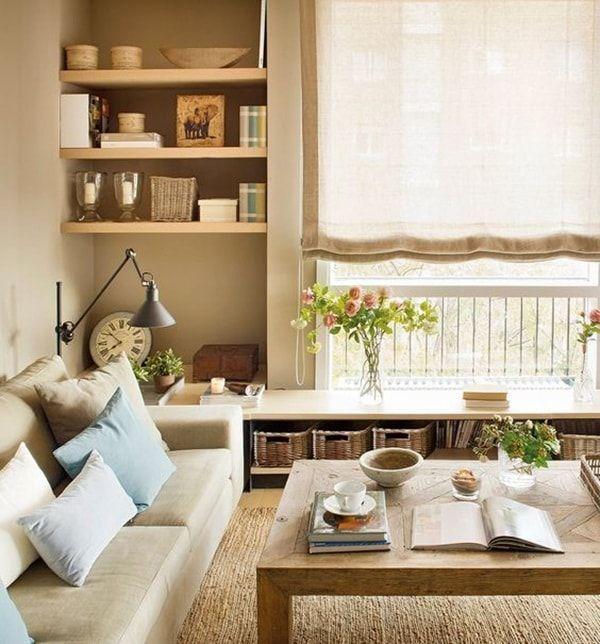 Estanterías de obra para salas pequeñas. Muebles a medida en salones pequeños.