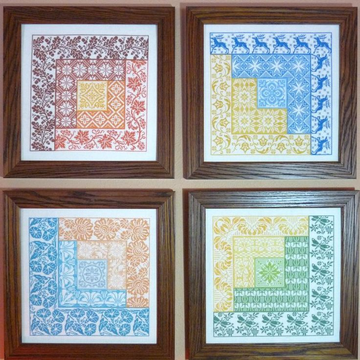 Newest design series - Four Seasons Log Cabin Quilt Patterns done in Cross Stitch gracewoodstitches.com