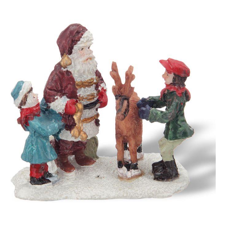 Pap noel con ni os y reno pueblo americano por el corte - Adornos de navidad en ingles ...